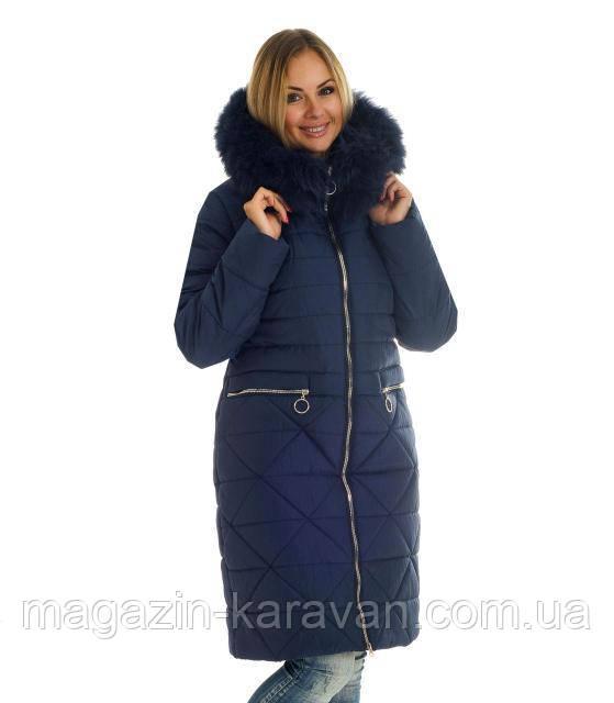 Модный  женский пуховик ЛД 52 Синий Песец