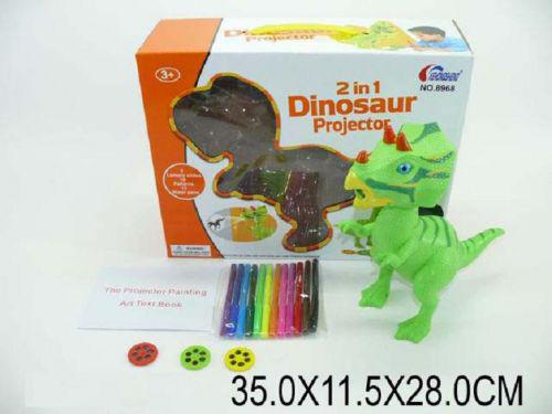 """Набор для творчества : проектор """"Динозавр"""", насадки и фломастеры"""