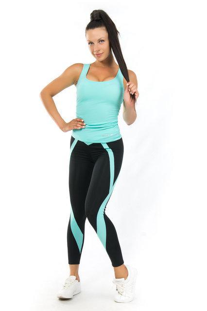 Комплект майка и лосины для спорта (42-44; 44-46; 46-48) (мята) одежда для йоги и фитнеса из бифлекса