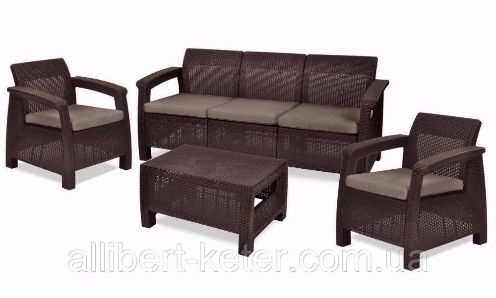 Комплект садових меблів зі штучного ротангу Corfu Set Max темно-коричневий (Keter)