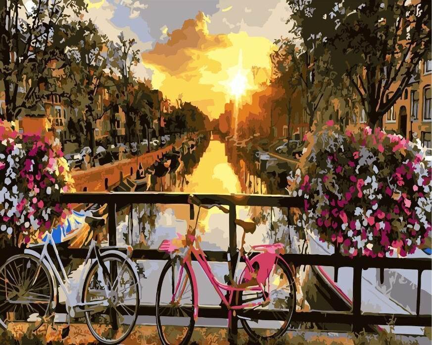 """Картина по номерам 50х40 """"Закат на улочке Амстердама"""""""