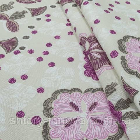 Декоративная ткань для штор, рисунок розовый