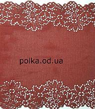 Стрейчевое кружево -1043, ширина 23см, цвет бордовый
