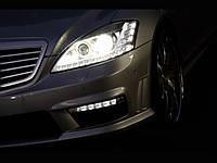DRL с рамками в передний бампер AMG Mercedes W221