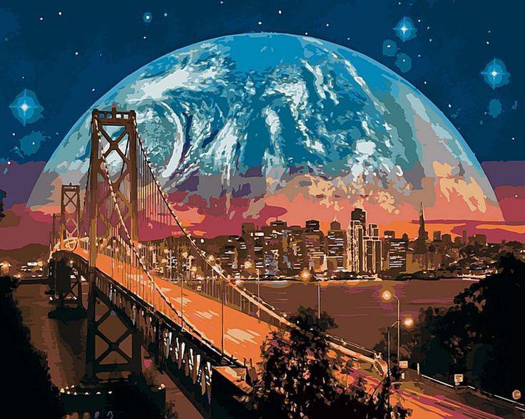 "Набор для рисования по номерам 50х40 ""Луна над Сан-Франциско"""
