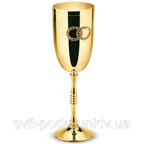 Свадебные бокалы для шампанского металлические Golden 2 шт Chinelli