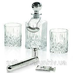 Набор для виски штоф и 2 стакана, гильотина и футляр для сигар Chinelli