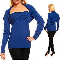Синий женский топ с болеро, нарядные женские вещи