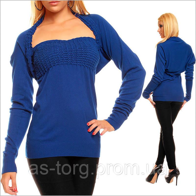 24ae0ee536e0f Синий женский топ с болеро, нарядные женские вещи, цена 196 грн., купить в  Днепре — Prom.ua (ID#62697463)