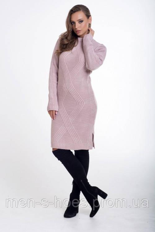 Платье женское облегающее  однотонное цвет пудра.