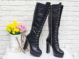 Высокие женские сапоги на шнуровке 36,37,38,39,40