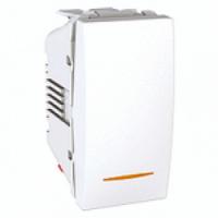 Выключатель 1-клав, кнопочный с подсветкой, 1-мод., белый MGU3.106.18N