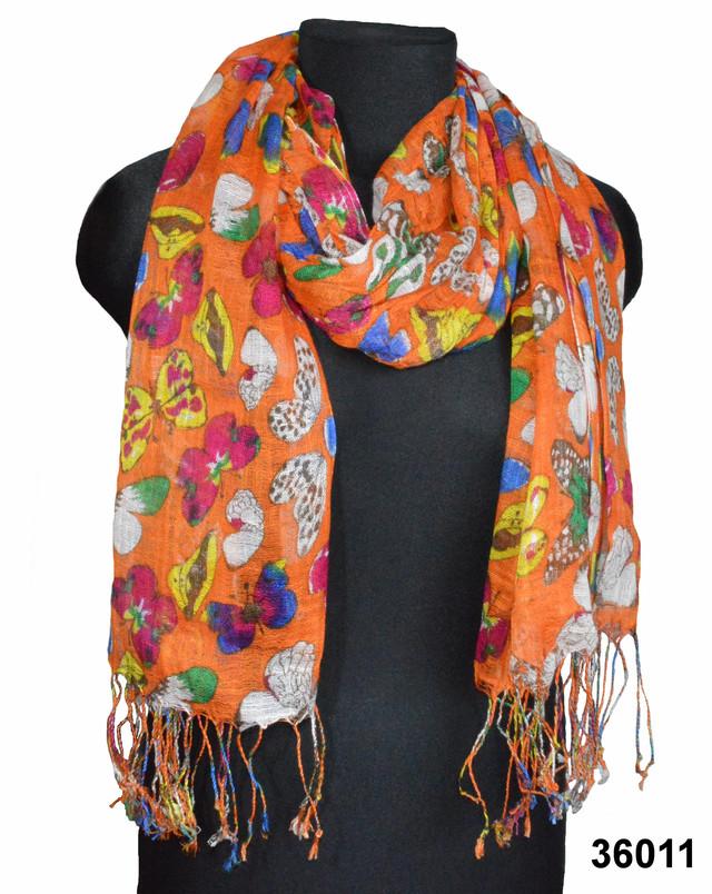 Оранжевый льняной шарф с орнаментом бабочек фото 1