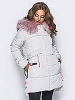 Зимняя женская куртка с мехом и большим накладным карманом на силиконе 90321/2