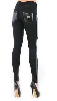 Стильные женские лосины без утеплителя  Вставки из эко-кожи  Цвет черный размер 44, фото 2