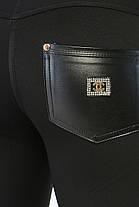 Стильные женские лосины без утеплителя  Вставки из эко-кожи  Цвет черный размер 44, фото 3
