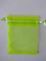Мішечок з органзи, 7*9 см. Жовтий (яскравий неоновий колір), фото 1