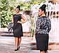 """Элегантный женский костюм платье + жакет в больших размерах """"Креп Кружево Штрихи Комби"""" в расцветках, фото 3"""