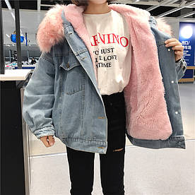 Жіноча джинсова куртка з великим хутряним капюшоном (демисезон/еврозима)