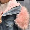 Джинсовая женская куртка с большим меховым капюшоном (демисезон/еврозима), фото 4