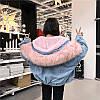 Джинсовая женская куртка с большим меховым капюшоном (демисезон/еврозима), фото 7