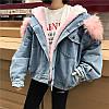 Джинсовая женская куртка с большим меховым капюшоном (демисезон/еврозима), фото 6
