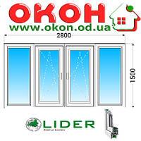 Лоджия Lider 58мм с однокамерным энергосберегающим стеклопакетом 2800x1500 мм, фото 1
