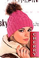 Стильная вязанная шапка с меховым бубоном (розовый), разные цвета