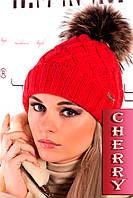 Стильная вязанная шапка с меховым бубоном (коралл), разные цвета