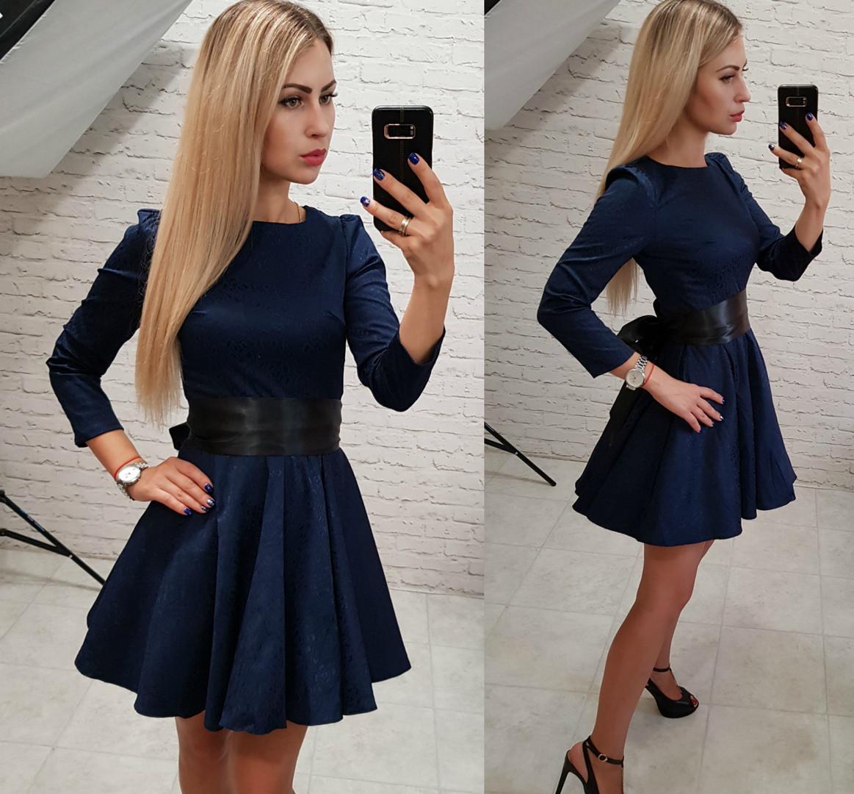 Темно-синие жаккардовое платье