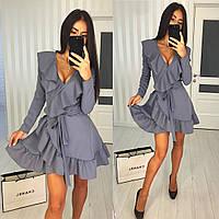 Серое платье с запахом, фото 1