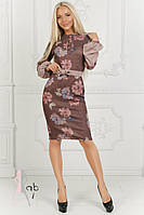 Ангоровое платье цвета марсала с цветочным принтом
