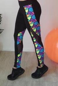 Эластичные лосины для спорта с разноцветными вставками 42-48 р