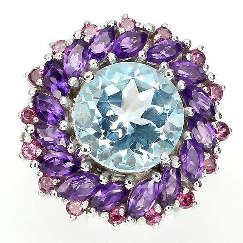 Кольцо с натуральным Небесно-голубым Топазом, Аметистом и Гранатами родолитами