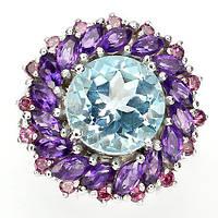 Кольцо с натуральным Небесно-голубым Топазом, Аметистом и Гранатами родолитами , фото 1