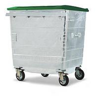 Оцинкованный контейнер с плоской пластиковой крышкой на 1100 л.