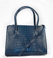Итальянская кожаная сумка под рептилию (синяя)