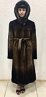 Шуба из бобра коричневая деграде с капюшоном  , фото 1