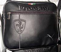 Мужская сумка Puma Ferrari A4 черная эко-кожа черная эмблема