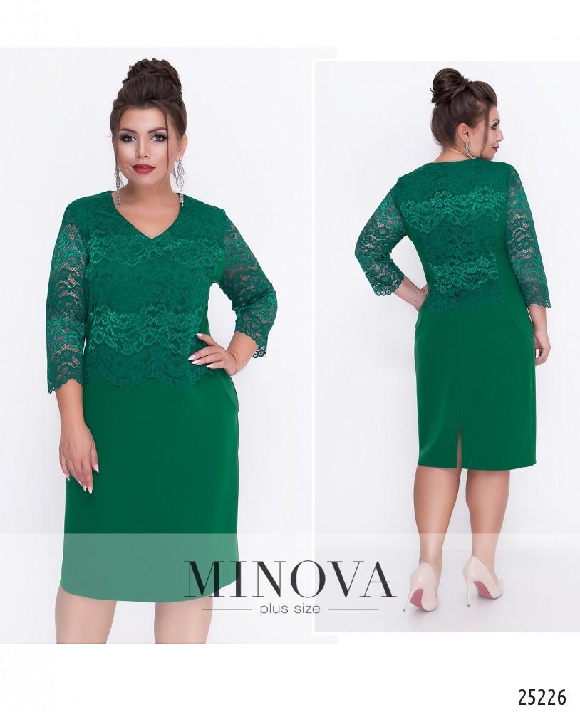 Элегантное платье по фигуре с кружевной отделкой лифа и спинки и кружевными рукавами 3/4 размеры 52-60