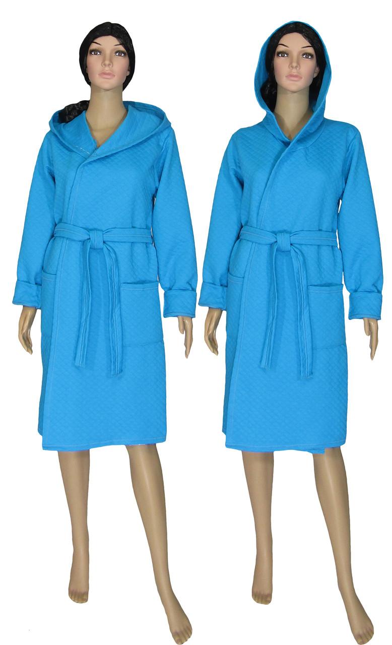 Халат женский теплый стеганный 18079 Kapiton Bright Blue коттон с капюшоном, р.р.40-56