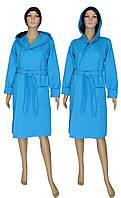 Халат женский теплый стеганный 18079 Kapiton Bright Blue коттон с капюшоном, р.р.40-56, фото 1