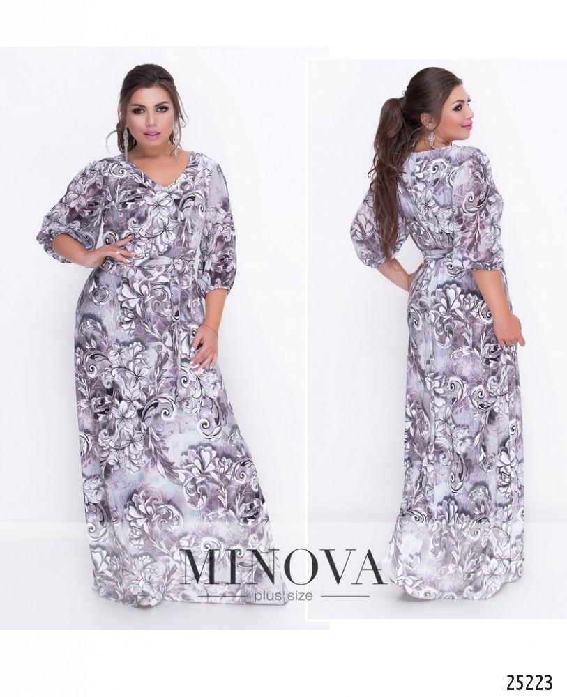 Эффектное приталенное платье-макси с V-образным декольте размеры 50-58