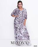Эффектное приталенное платье-макси с V-образным декольте размеры 50-58, фото 2