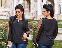 c61fa4c86fc Женская блуза из износостойкой турецкой ткани со вставками из сетки с  горохом