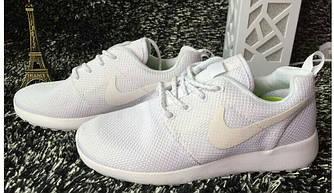 Кроссовки Nike Roshe Run White Белые мужские