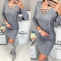 Хит сезона! Платье со шнуровкой (арт. 127) цвет серый меланж