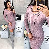 Хит сезона! Платье со шнуровкой (арт. 127) цвет розовый меланж, фото 1