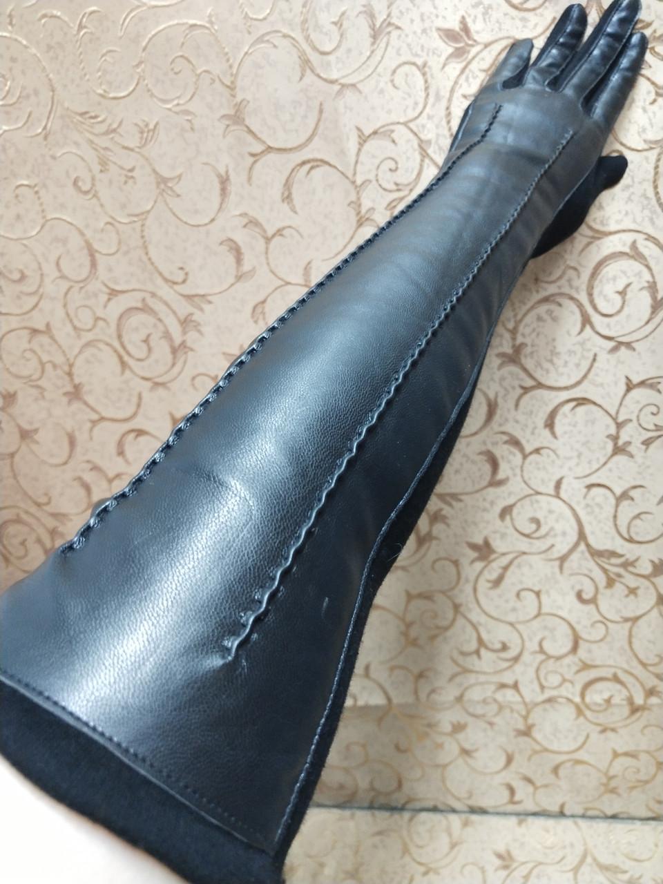 (50cm)Длинные трикотаж с кожа женские перчатки только оптом