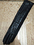(50cm)Длинные трикотаж с кожа женские перчатки только оптом, фото 2